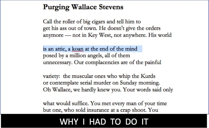 "Why I Wrote ""Purging Wallace Stevens"""